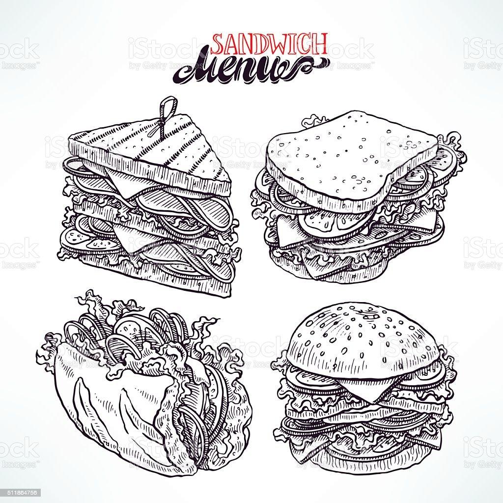 set of delicious sandwiches vector art illustration