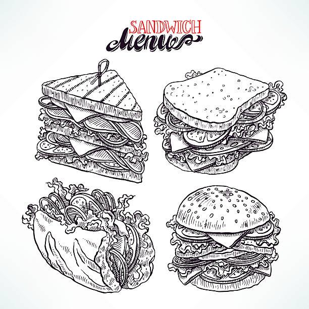illustrazioni stock, clip art, cartoni animati e icone di tendenza di gruppo di deliziosi panini - panino