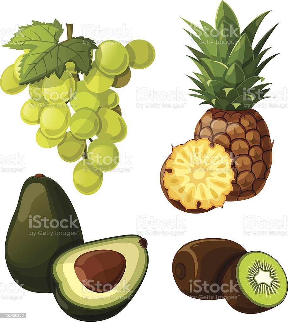 Set of delicious tropical fruit and grapes. royalty-free stock vector art