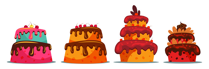 Set of delicious two and three tier cakes flat vector illustration