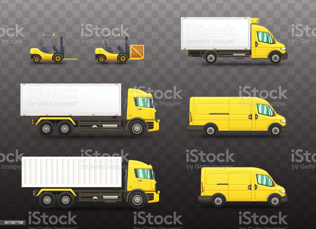 Set of delivery and transportation vehicles vector art illustration