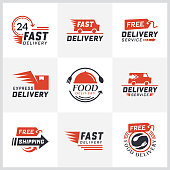 Set of delivery labels for online shopping. Worldwide shipping, Delivery signs and icon. Signs and labels free delivery. Fast delivery icontype. Delivery service icons. Food delivery design