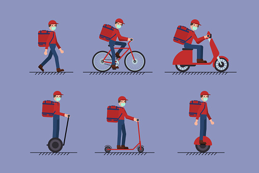 Set of Delivery Man with face mask on foot, scooter, bicycle, mono-wheel, segway. Covid-19 Coronavirus concept.