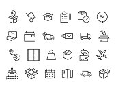 Set of Delivery Related Vector Line Icons. Contains such Icons as Priority Shipping, Express Delivery, Tracking Order and more. Editable Stroke. 48x48 Pixel Perfect.