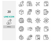 set of delivery thin line icons, box, transport, send, customer service