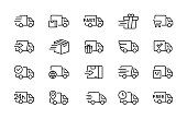 set of delivery truck icons collection of simple linear web icons from different delivery tracks and boxes editable vector stroke 96x96 pixel perfect