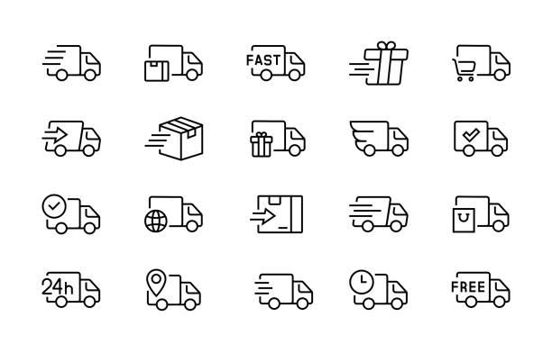 zestaw ikon samochodu dostawczego edytowalny skok wektorowy 96x96 piksel idealny - przewóz stock illustrations