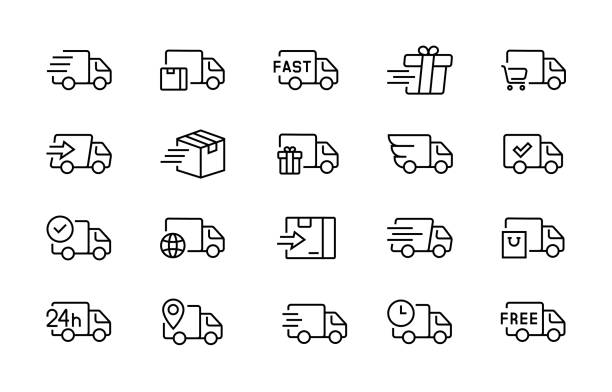 illustrazioni stock, clip art, cartoni animati e icone di tendenza di set of delivery truck icons editable vector stroke 96x96 pixel perfect - logistica