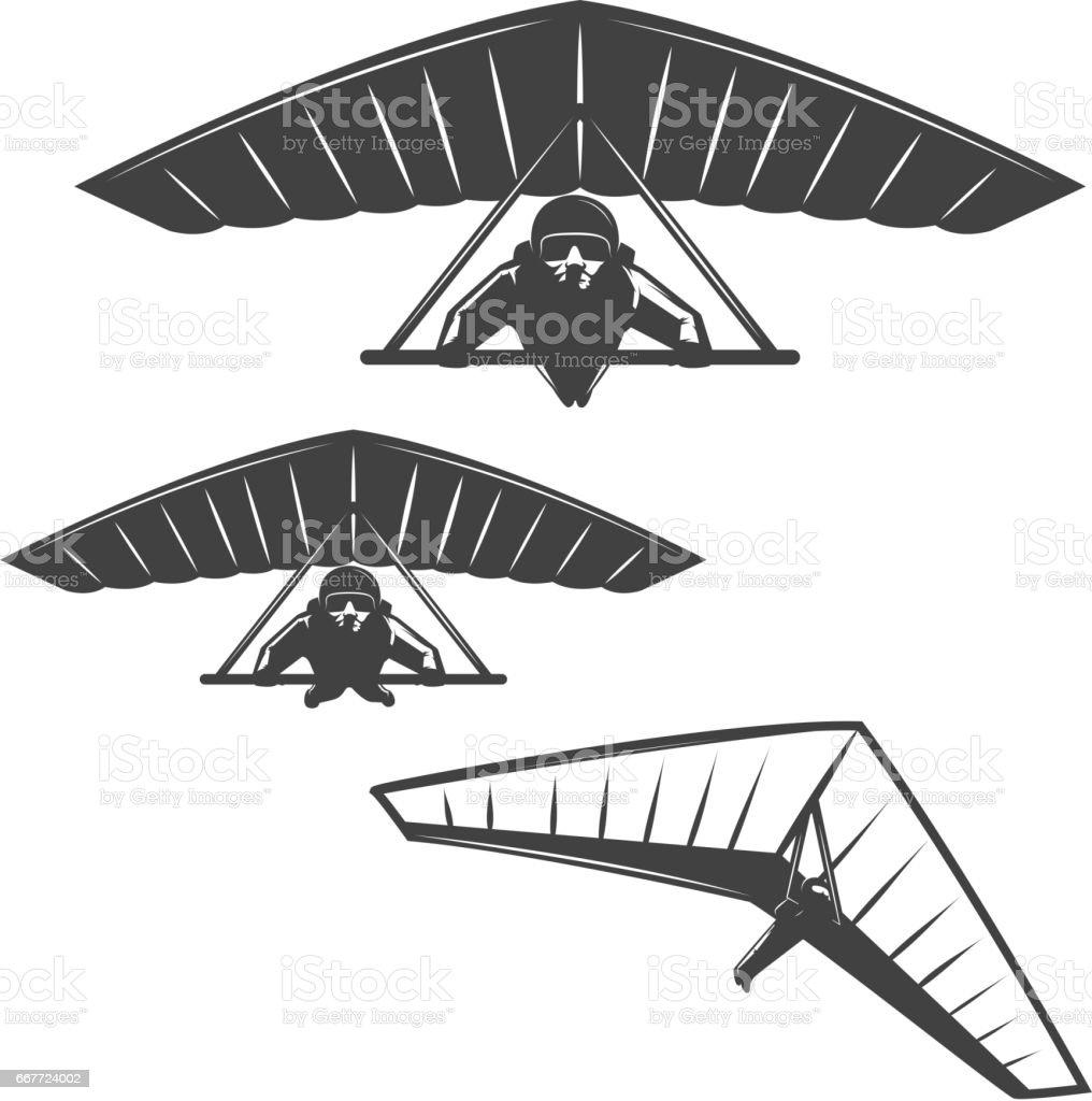 Set of deltaplan icons isolated on white background. Design elements for logo, label, emblem, sign, brand mark, poster. vector art illustration