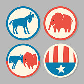 Set of Democratic donkey and Republican elephant stickers or buttons. Vector illustration.