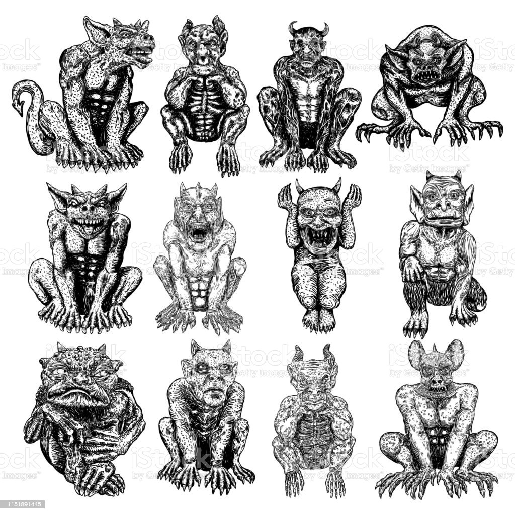 Set Of Demons Human Like Monsters Creatures Chimera With Fangs Horns And Claws Mystic And Occult Hand Drawn Engraved Devil Vector Stock Illustration Download Image Now Istock