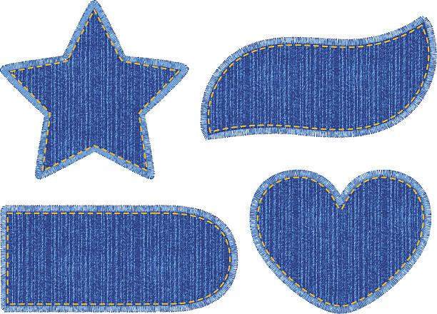 illustrazioni stock, clip art, cartoni animati e icone di tendenza di set of denim patches - pezze di stoffa