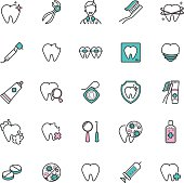 Set of dental care web icons. thin line vector  icons of teeth health, dentistry, medicine for your design