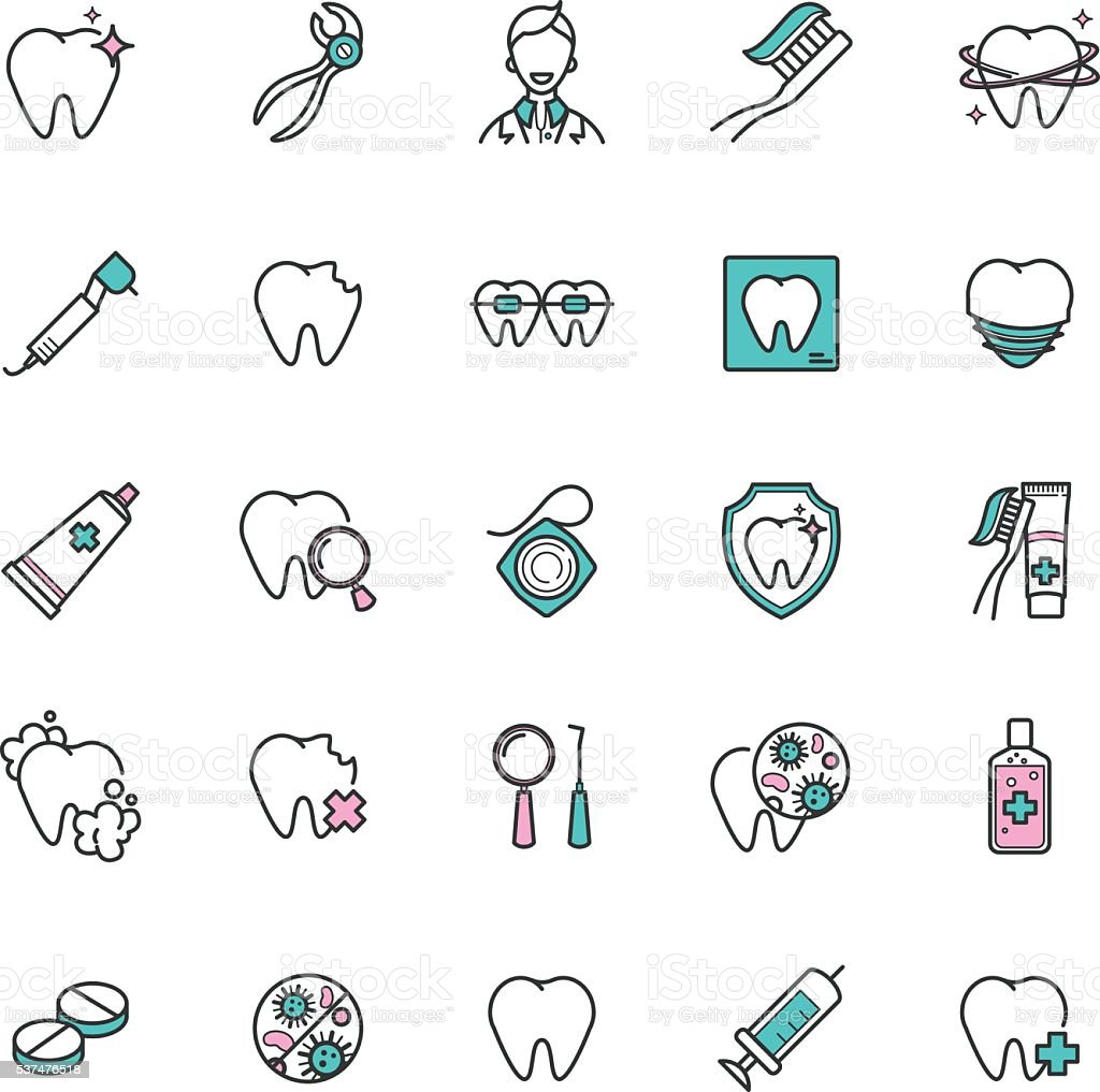 Set of dental care web icons. vector icons of teeth vector art illustration
