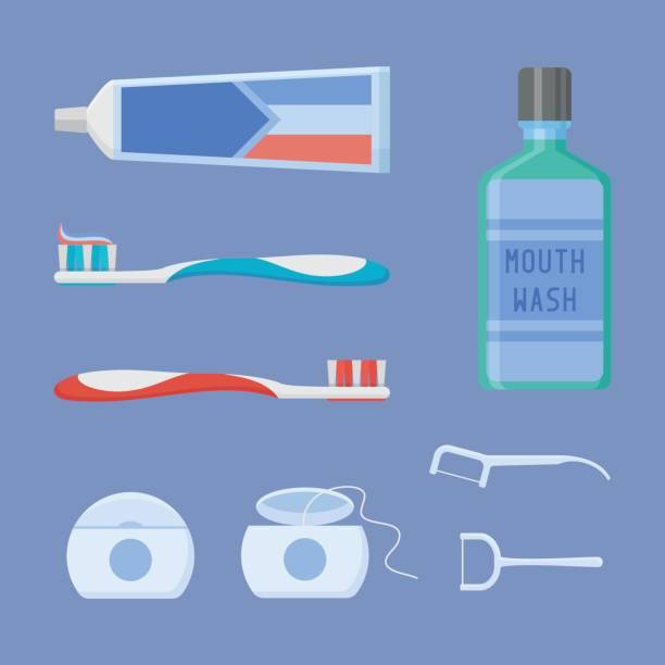 satz von dental reinigungsgeräte. flachen stil-vektor-illustration. - zähne putzen stock-grafiken, -clipart, -cartoons und -symbole