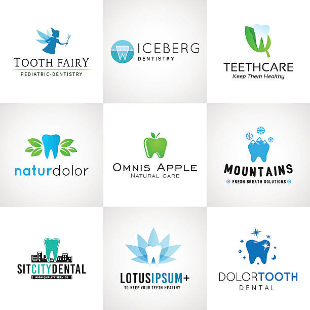set of dental icons vector tooth designs. bright teeth clinic - orthodontist stock illustrations, clip art, cartoons, & icons