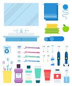 Set of Dental Prevention, Bath flat vector illustration on white.
