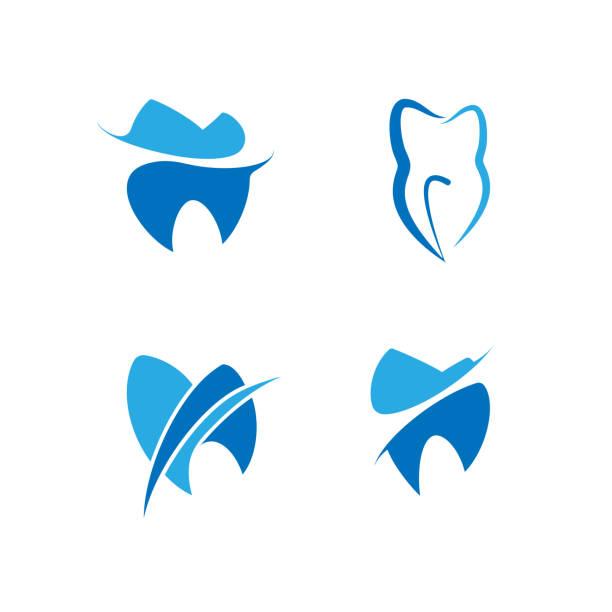 ilustraciones, imágenes clip art, dibujos animados e iconos de stock de conjunto de s dental para clínica dental - logos de dentista