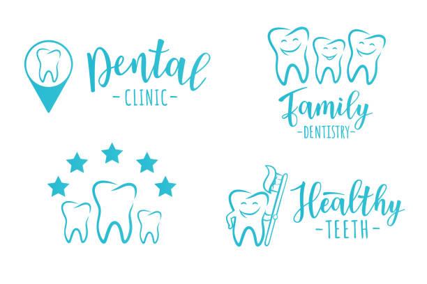 bildbanksillustrationer, clip art samt tecknat material och ikoner med uppsättning av tandvård etiketter för en tandvårdsklinik - molar