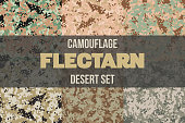 Set of Desert Flectarn Camouflage seamless pattern