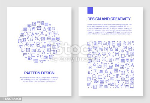 Set of Design and Creativity Icons Vector Pattern Design for Brochure,Annual Report,Book Cover.