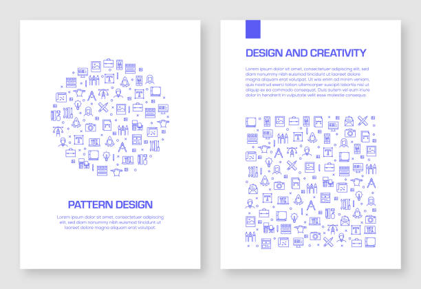 set of design and creativity icons vector pattern design for brochure,annual report,book cover. - artsy backgrounds stock illustrations