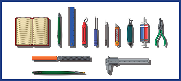 Set of design and manufacturing tools for hobbyist, designer and engineers to design and produce objects. Set of tools and design objects on a white background.