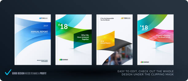 Set of design brochure, abstract annual report, horizontal cover vector art illustration