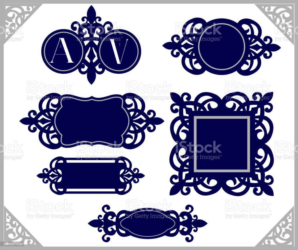 Set of design element vintage emblem decorative frame template set of design element vintage emblem decorative frame template wedding monogram laser cut junglespirit Choice Image