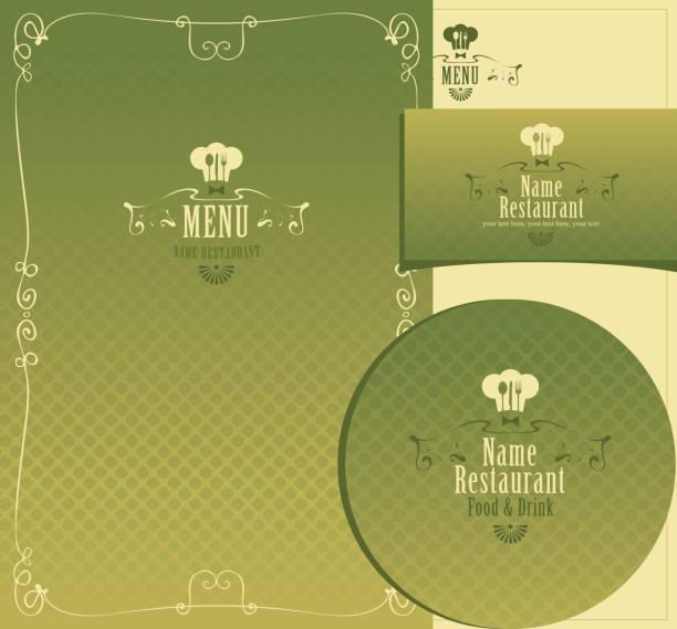 Set of design elements for a cafe or restaurant vector art illustration
