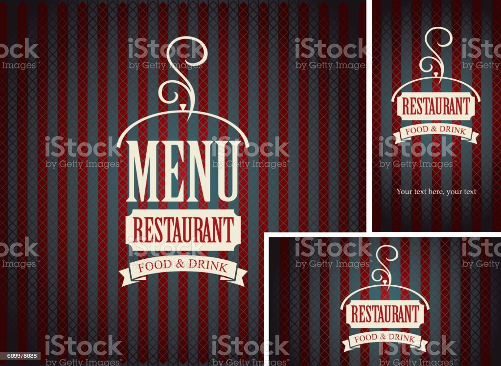 Set of design elements for a cafe or restaurant - Illustration vectorielle