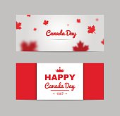 Set of design elements for Canada Day 1st of July.