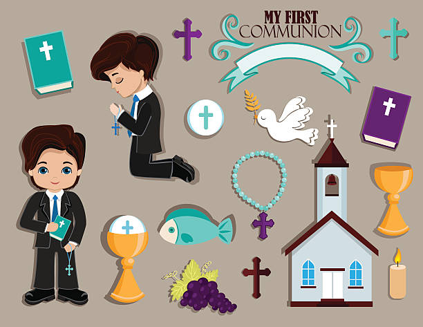 set of design elements for first communion for boys. - communion stock illustrations, clip art, cartoons, & icons