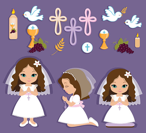 set of design elements for first communion for girls - communion stock illustrations, clip art, cartoons, & icons