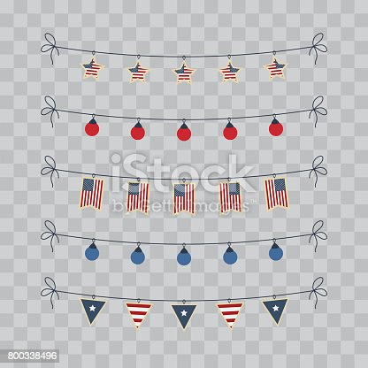 A set of design elements for Independence Day. 4th of July Objects, Element. Vector illustration isolated on transparent checkered