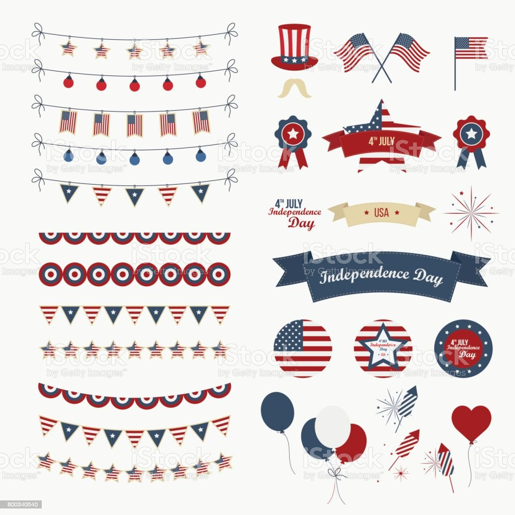 A set of design elements for Independence Day. vector art illustration
