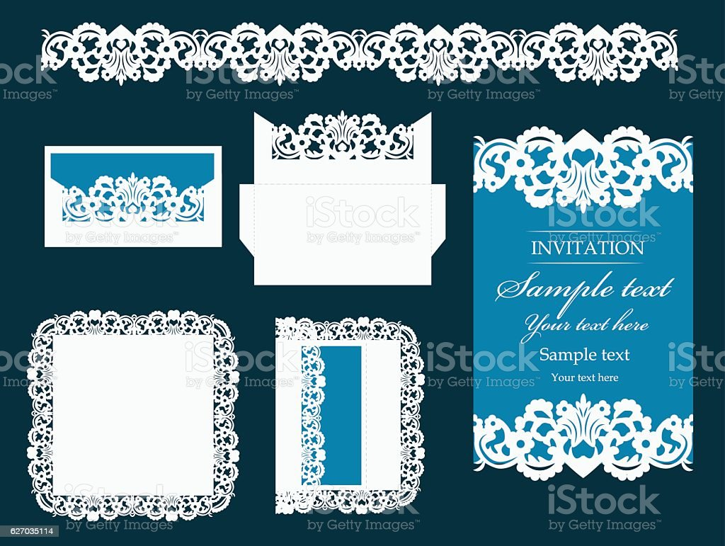 Set of  design elements for laser cutting vector. vector art illustration