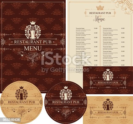 Vector set of elements for design pub restaurant in baroque style with glass of beer, crown and laurel wreath. Menu, price list, stands for drinks and business cards on background with floral pattern
