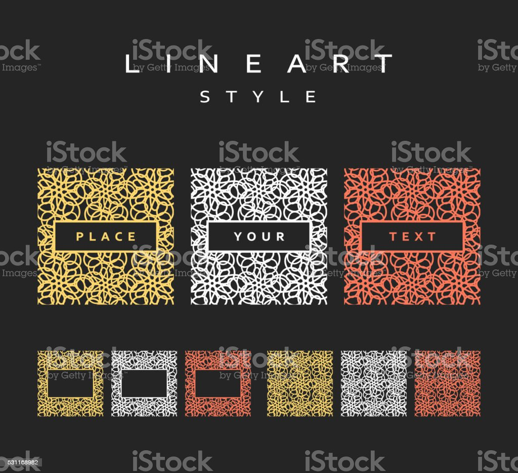 Set of design elements. Labels and frames. vector art illustration