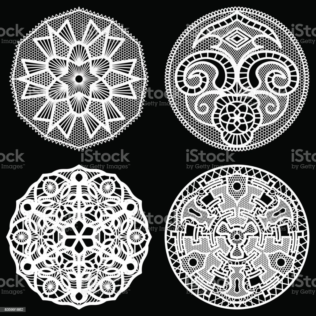Set Of Design Elements Lace Round Paper Doily Doily To Decorate The ...