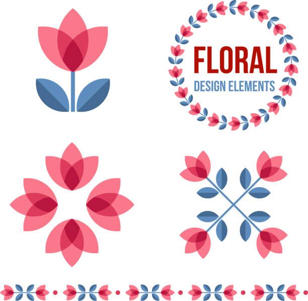 bildbanksillustrationer, clip art samt tecknat material och ikoner med set of design elements - retro flowers - summer sweden
