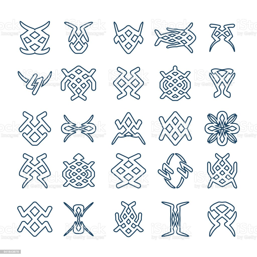 set of design geometric fancy abstract characters for tattoo stock