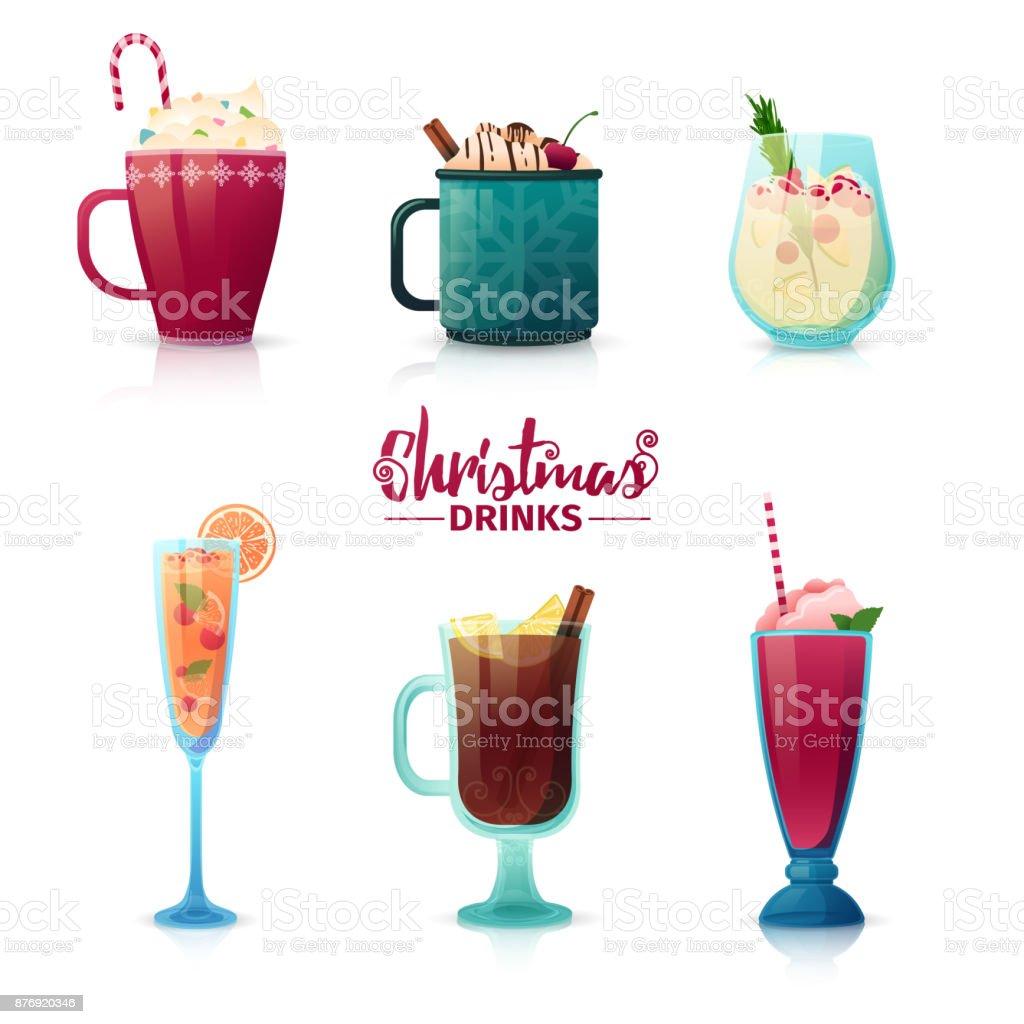Conjunto de diseño de Navidad bebidas en estilo de dibujos animados. Caliente el vino, chocolate caliente, batido para las vacaciones de año nuevo. Diseño de cócteles para la decoración del menú. Vector. - ilustración de arte vectorial