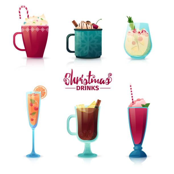 satz des designs von weihnachten getränke im cartoon-stil. glühwein, heiße schokolade, milchshake für das neue jahr urlaub. gestaltung von cocktails für menü-dekoration. vektor. - weihnachtsschokolade stock-grafiken, -clipart, -cartoons und -symbole