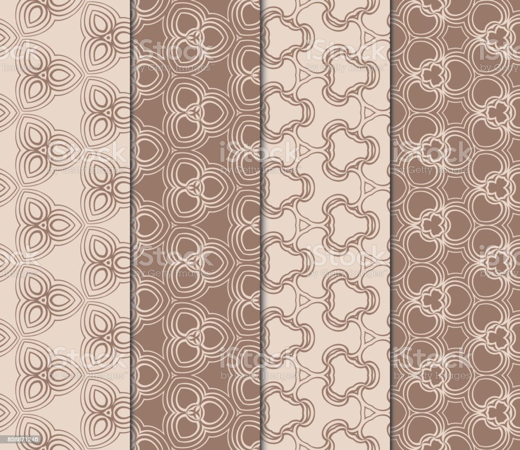 set of design seamless pattern with creative geometric ornament. vector illustration. coffee color vector art illustration