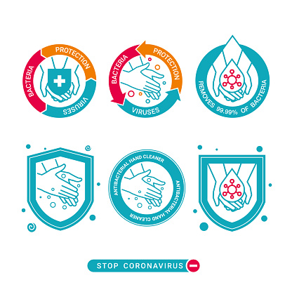 Set of design symbols for protection from coronavirus infections, hand protection and cleaning products covid-19, logo design for labels, stickers on product packaging