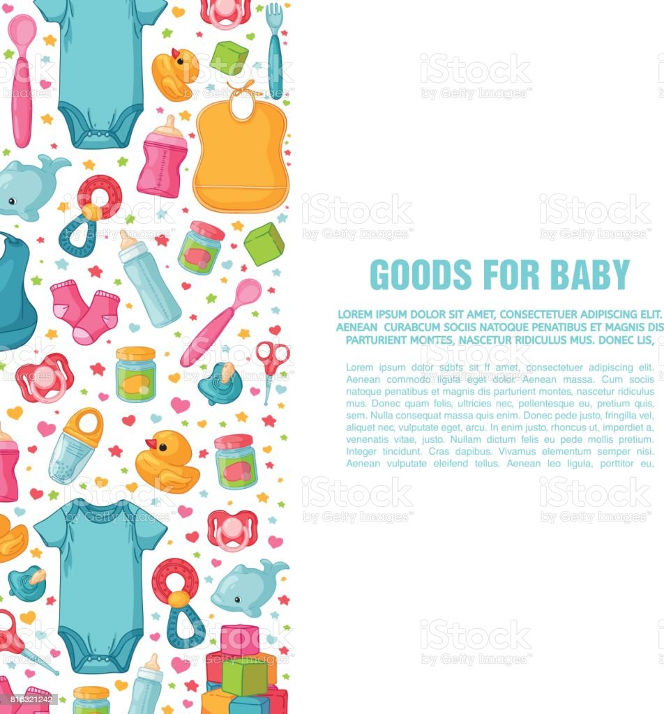 Set of design templates for vertical banners with childhood's patterns. Newborn staff for decorating flyers. Clothes, toys, accessories for babies. Square poster with infant item. Vector. vector art illustration
