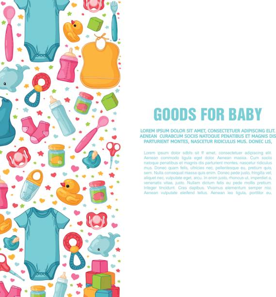 Set of design templates for vertical banners with childhood's patterns. Newborn staff for decorating flyers. Clothes, toys, accessories for babies. Square poster with infant item. Vector. Set of design templates for vertical banners with childhood's patterns. Newborn staff for decorating flyers. Clothes, toys, accessories for babies. Square poster with infant item. Vector baby clothing stock illustrations