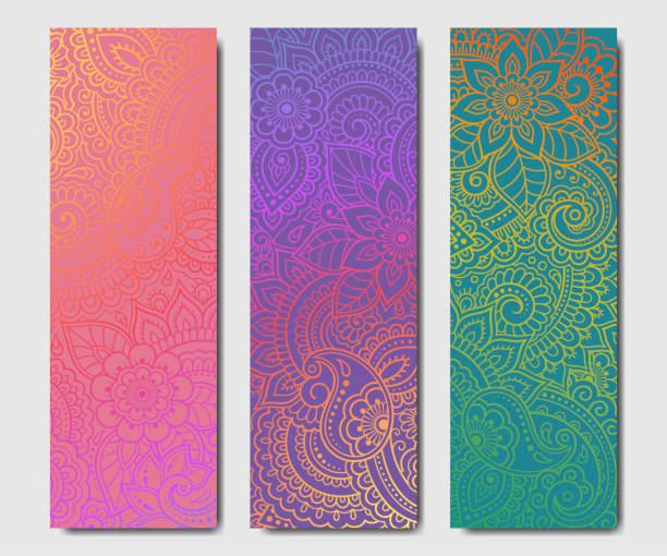 ilustrações de stock, clip art, desenhos animados e ícones de set of design yoga mats. floral pattern in oriental style for decoration sport equipment. colorful ethnic indian ornaments for spiritual serenity. decor of business card, poster, print in henna tattoo - yoga