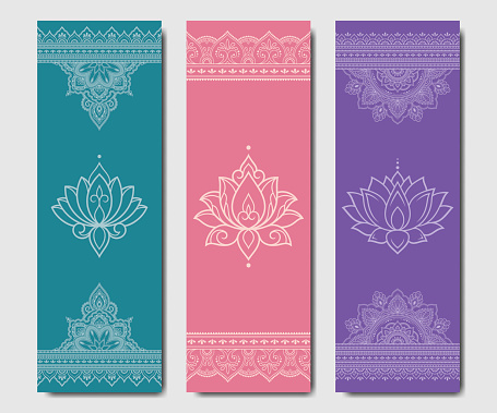 Set of design yoga mats. Lotus floral and mandala pattern in oriental style for decoration sport equipment. Colorful ethnic Indian ornaments for spiritual serenity. Decor of card, poster, print.